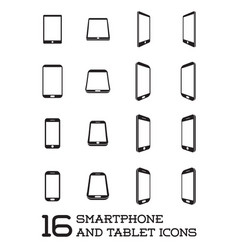 16 smartphone icons line style vector
