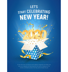2020 golden number fly from blue gift box poster vector