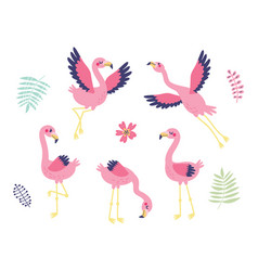 5 cute flamingos vector image