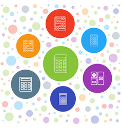 7 calculation icons vector image