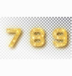 789 glitter typography design gold sparkling vector