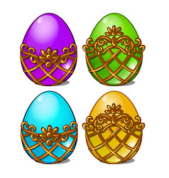 A set of multicolored eggs in a golden frame vector