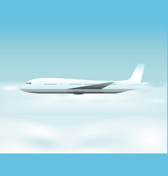airplane flying above the clouds vector image