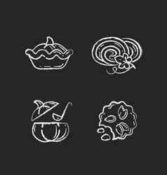 autumn dishes recipes chalk white icons set vector image