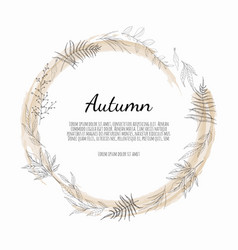 Autumnal round frame wreath autumn leaves vector