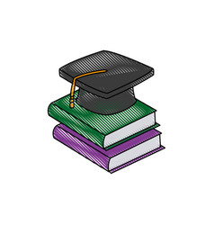 Back to school book graduation cap concept vector