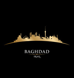 baghdad iraq city skyline silhouette black vector image