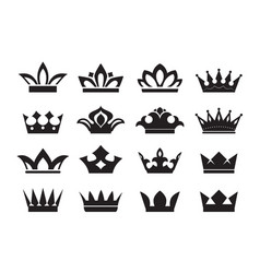 big set king crowns icon on black background vector image
