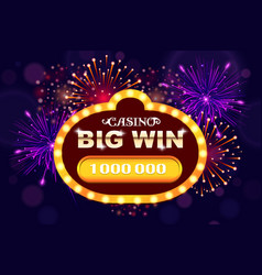big win glowing banner for online casino slot vector image