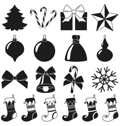 Black white 18 christmas elements silhouette set vector