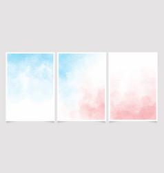 Blue and pink watercolor wet wash splash 5x7 vector
