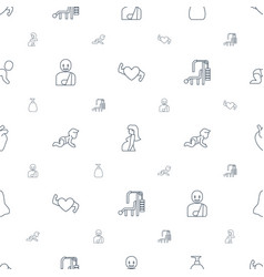 body icons pattern seamless white background vector image