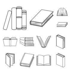 Book in the binding outline icons in set vector