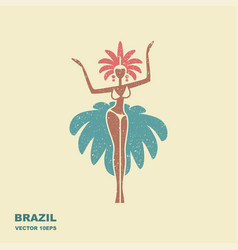 brazil carnival dancer icon in flat style vector image