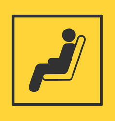 Bus or train or plane seat yellow sticker in vector