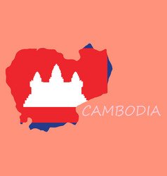 Cambodia map and flag in white background vector