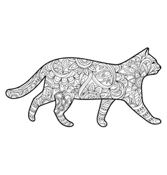 Cat coloring book for adults vector image
