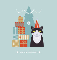 cat in hat with gift boxes idea for greeting card vector image