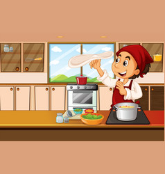 Chef cooking food in kitchen vector