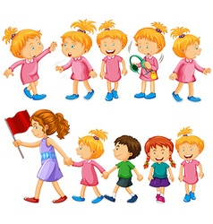 Chidren characters in different actions vector image