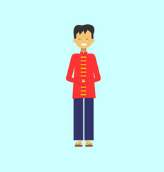 chinese man wearing traditional costume asian male vector image