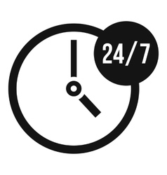 Clock 24 7 icon simple style vector image