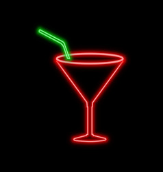 cocktail glass neon sign bright glowing symbol on vector image