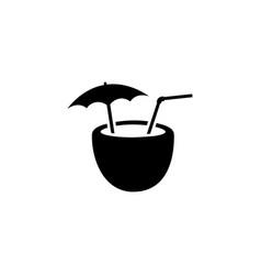Coconut cocktail icon cartoon vector