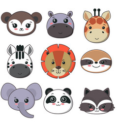 collection of cute african animal faces vector image