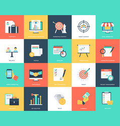 Collection of seo and marketing flat icons vector