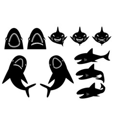 Collection of sharks silhouette in cartoon style vector