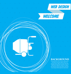 concrete mixer icon on a blue background with vector image