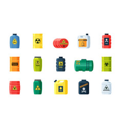 containers toxic and chemical substances set vector image
