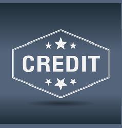 credit hexagonal white vintage retro style label vector image