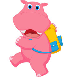 Cute hippo going to school vector