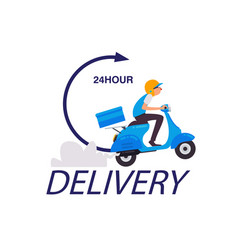 Delivery 24 hour delivery man on scooter backgroun vector