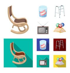 Denture rocking chair walker old tvold age set vector