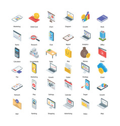 Digital marketing icons set vector