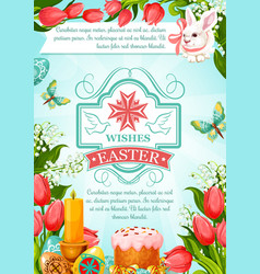 Easter paschal poster cake paska kulich vector