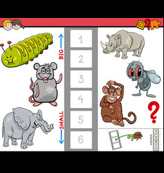 Educational game for kids with large and small vector