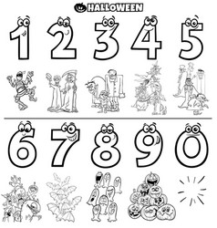 educational numbers set with halloween characters vector image
