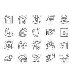 Employees benefits line icon set vector