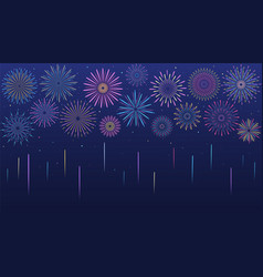 Festive multicolored fireworks in various forms vector