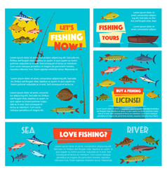 fishing sport poster and banner template design vector image