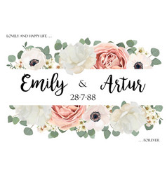 floral cute wedding invitation save date card vector image