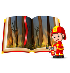 forest on fire in the book and firefighter vector image