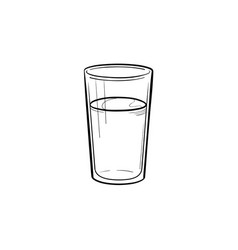 Glass of water hand drawn sketch icon vector