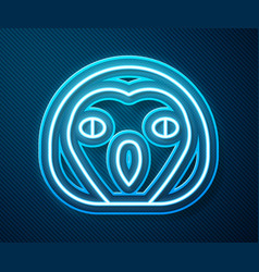 Glowing neon line owl bird icon isolated on blue vector
