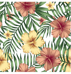golden burgundy hibiscus plumeria leaves seamless vector image