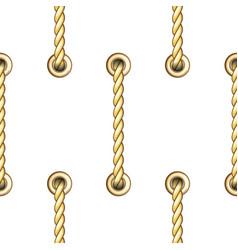 golden vertical straped ropes with metal eyelets vector image